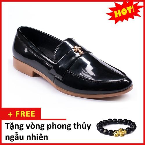 Giày Lười Nam Đẹp Đế Khâu Chữ Thập Da Bóng Màu Đen - M95 Tặng vòng phong thủy