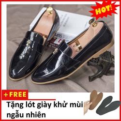 Giày Lười Nam Đẹp Đế Khâu Chữ Thập Da Bóng Màu Đen - M95 Tặng lót giày