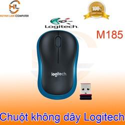 Chuột không dây Logitech M185 đen viền xanh tiết kiệm pin nhấn êm chính hãng DGW phân phối