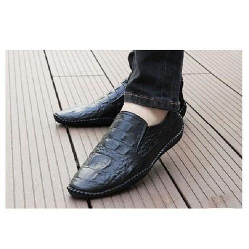 Giày lười nam da bò dập vân cá sấu