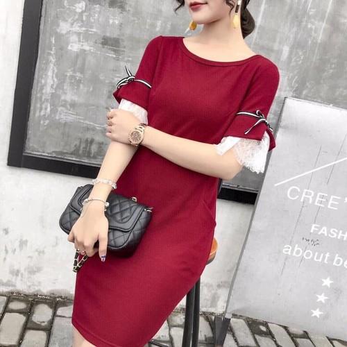 Đầm Ôm Tay Đắp Ren Cao Cấp - 33HL21