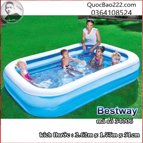 Bể Bơi Phao 2.62m x 1.75m x 51cm trên 6 tuổi - Bestway 54006