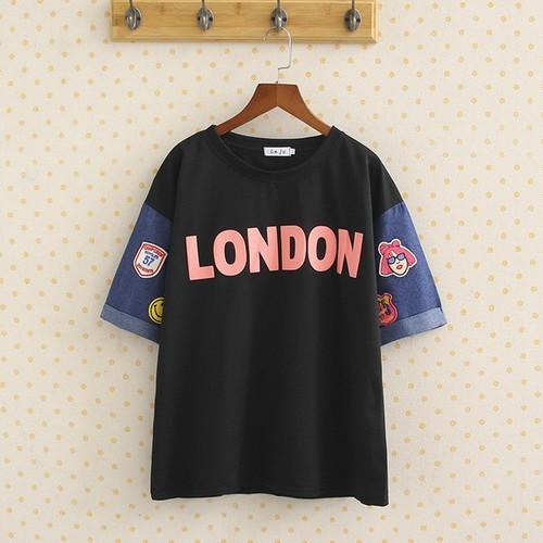 Áo thun đen big size in chữ London tay jean logo size lớn 70-90kg