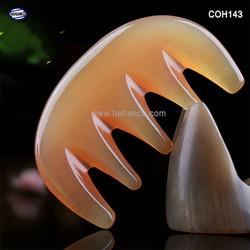Lược sừng 5 răng MÁT XA Đầu Giúp Lưu Thông Máu -Size: S – 9,5cm- Chải Tóc Xoăn, Rối, Xù – Hahanco