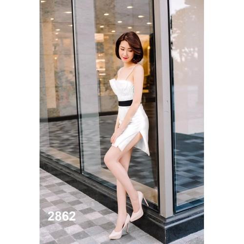 Đầm body trắng hai dây dự tiệc