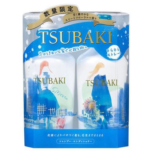 Bộ dầu gội và xả Tsubaki Moist màu trắng xanh chăm sóc và phục hồi tóc hư tổn của Nhật Bản