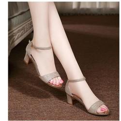 Giày sandal cao gót viền vàng