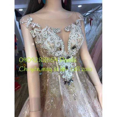 áo cưới kim tuyến nude tay con sang trọng