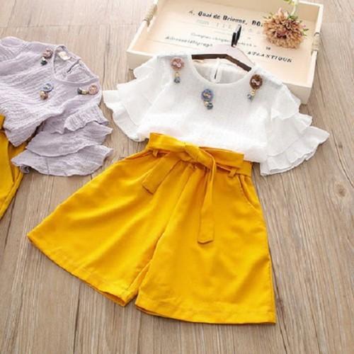 Set áo kiểu quần ống rộng cho bé