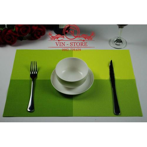 30x45cm - KL007 Combo 2 tấm lót bàn ăn nhựa dẻo màu xanh lá cây