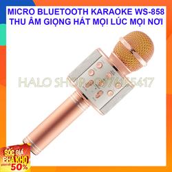 Mic Karaoke Ws 858 Kèm Loa Bluetooth Âm Chuẩn Hút Mic Có Ghi Âm Giọng Hát