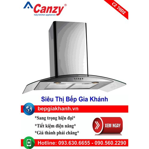 Máy hút mùi nhà bếp dạng kính cong 70cm Canzy CZ 70D2