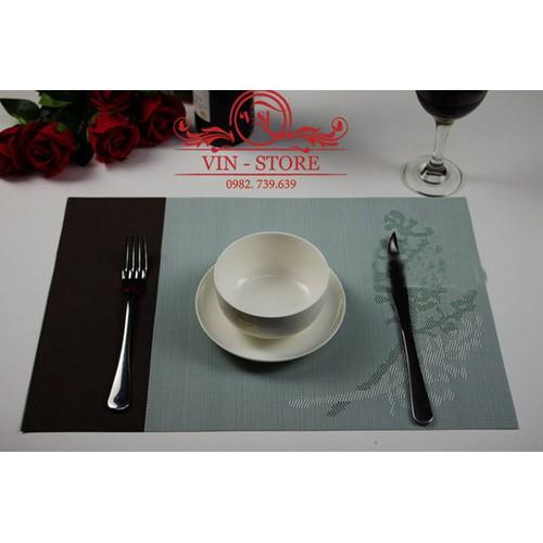30x45cm - KL016 Combo 2 tấm lót bàn ăn nhựa dẻo màu xanh ngọc