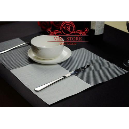 30x45cm - KL011 Combo 2 tấm lót bàn ăn nhựa dẻo màu xám đen