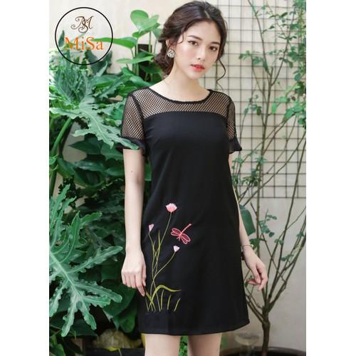 Đầm suông thêu phối lưới - 2 túi 2 bên - Misa Fashion MS312