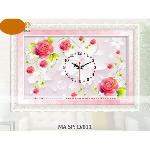 Tranh đính đá đồng hồ hoa hồng LV011 - KT:80x53cm