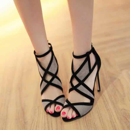 giày sandal cao gót phối lưới