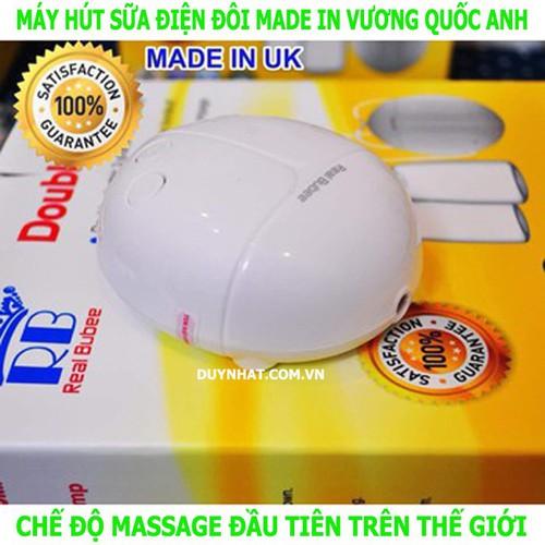 Máy hút sữa dùng điện đôi Real Bubee - Máy hút sữa Anh Quốc có massage