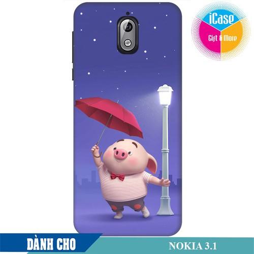 Ốp lưng nhựa dẻo dành cho Nokia 3.1 in hình Heo Con Cầm Ô