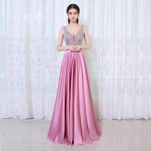 Đầm Dạ Hội Xòe Phối Kim Sa