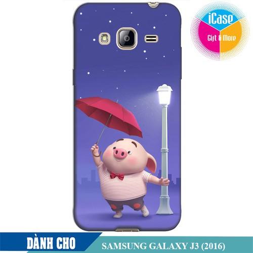 Ốp lưng nhựa dẻo dành cho Samsung Galaxy J3 2016 in hình Heo Con Cầm Ô