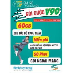 Sim 4G Viettel V90 - Có Ngay 60GB Mỗi Tháng Giá Rẻ