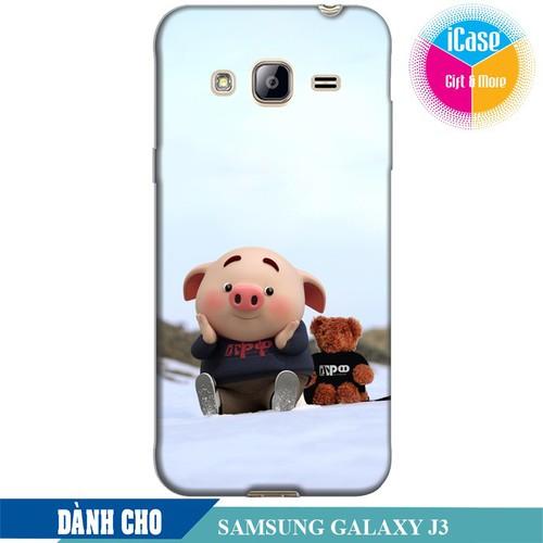 Ốp lưng nhựa dẻo dành cho Samsung Galaxy J3 in hình Heo Con Nghịch Tuyêt