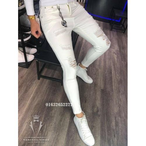 Quần jeans nam trắng rách gối