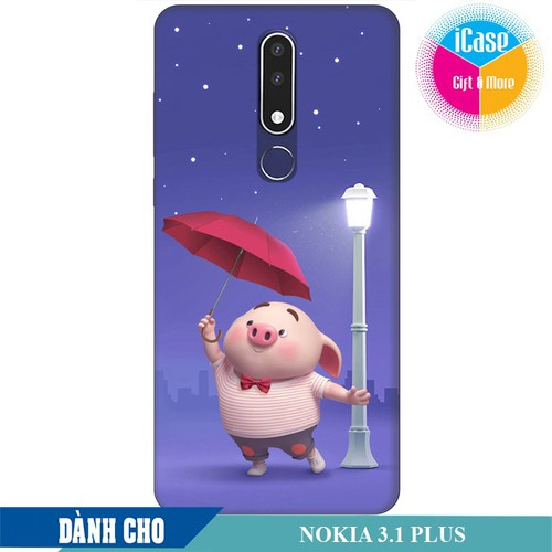 Ốp lưng nhựa dẻo dành cho Nokia 3.1 Plus in hình Heo Con Cầm Ô