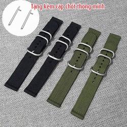 Dây đồng hồ nato chốt thông minh, dây đồng hồ vải dù size 20mm, 22mm - Mã số: D1803