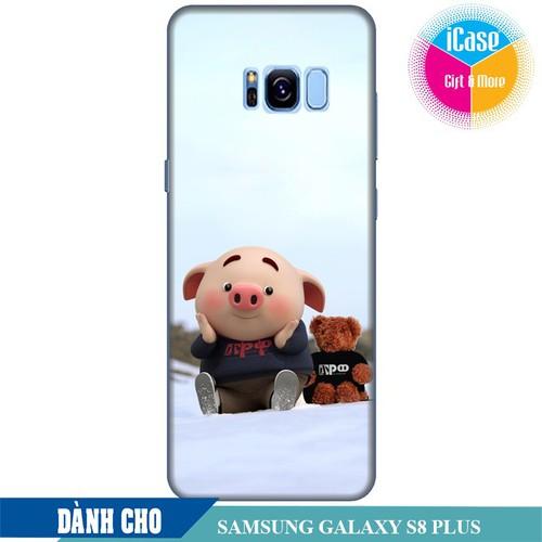 Ốp lưng nhựa dẻo dành cho Samsung Galaxy S8 Plus in hình Heo Con Nghịch Tuyết