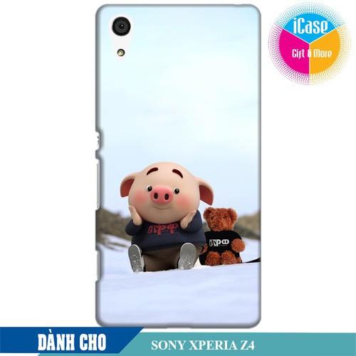 Ốp lưng nhựa dẻo dành cho Sony  Z4 in hình Heo Con Nghịch Tuyết