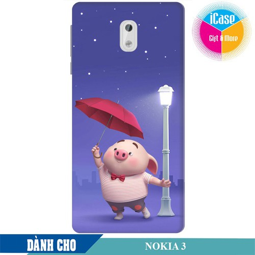 Ốp lưng nhựa dẻo dành cho Nokia 3 in hình Heo Con Cầm Ô