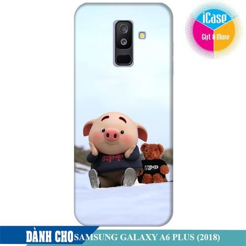 Ốp lưng nhựa dẻo dành cho Samsung Galaxy A6 Plus in hình Heo Con Nghịch Tuyêt