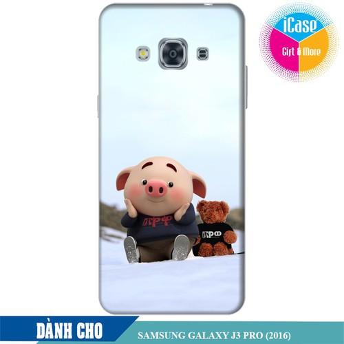 Ốp lưng nhựa dẻo dành cho Samsung Galaxy J3 Pro in hình Heo Con Nghịch Tuyêt
