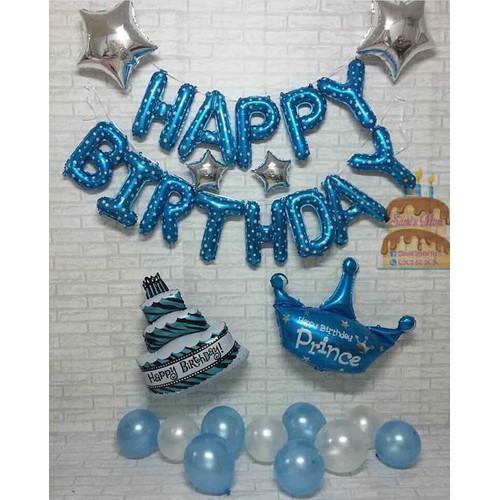 set trang trí sinh nhật màu xanh siêu rẻ - Tặng bơm và keo