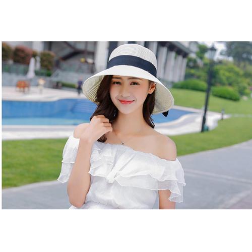 mũ cói- nón đi biển vành nhỏ thắt nơ phong cách Hàn