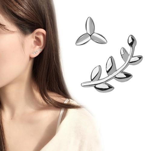 Bông tai bạc nữ | Bông tai Hàn Quốc| Bông tai hình chiếc lá olive bất đối xứng| Bông tai nữ giá rẻ