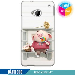 Ốp lưng nhựa dẻo dành cho HTC One M7 in hình Heo Con Kute