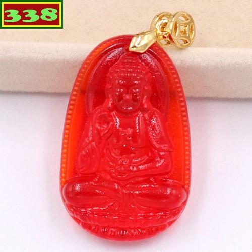 Mặt dây chuyền Phật A Di Đà pha lê đỏ 3.6 cm MFBO7 - Phật bản mệnh tuổi Tuất, Hợi