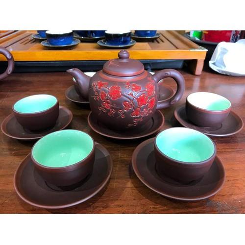 Bộ trà tử sa khắc hoa đào đỏ