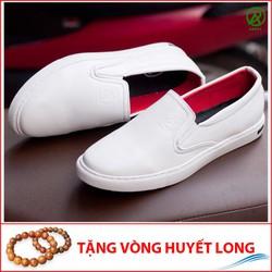 Giày Slip On Nam Aroti Đế Khâu Chắc Chắn Phong Cách Đơn Giản Màu Trắng - M498-TRANG-25219