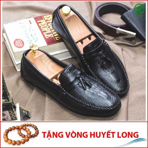 Giày Mọi Nam Đẹp Đế Khâu Có Chuông Vân Cá Sấu Màu Đen Sang Trọng - M117-25219