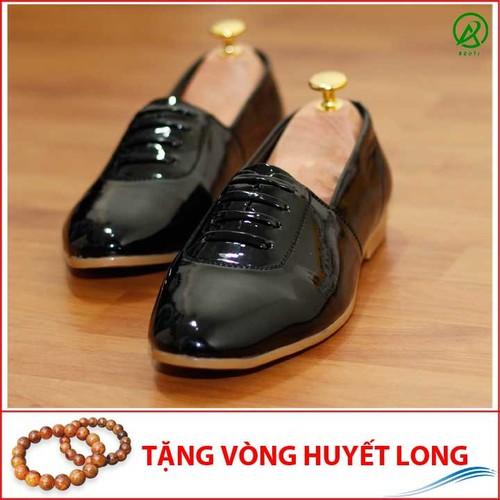 Giày Lười Nam Đế Khâu Chắc Chắn Da Bóng Mặt Dây Ngang - M97-25219