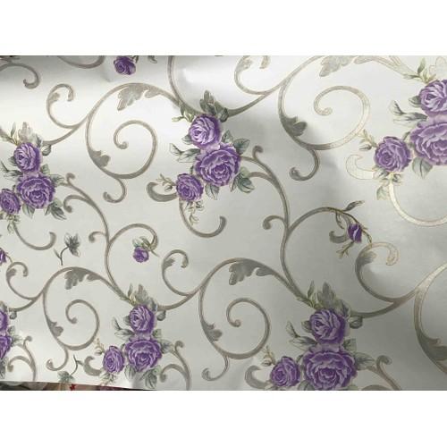 10m giấy dán tường họa tiết hoa hồng chùm tím-khổ rộng 45cm- keo sẵn