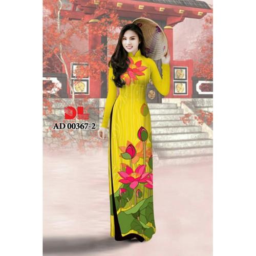 Vải áo dài lụa vân gỗ hoa sen 0367