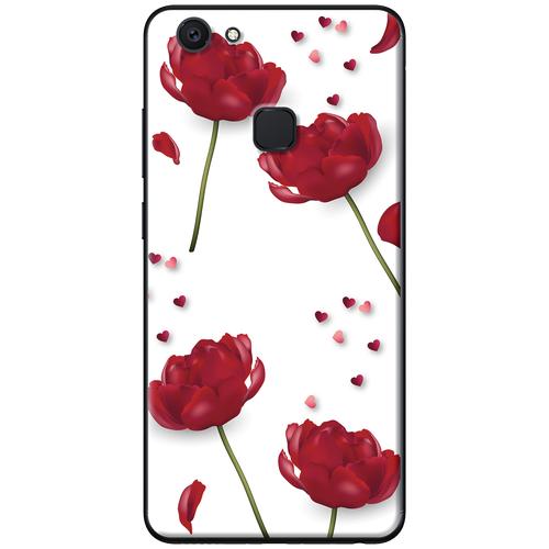 Ốp lưng nhựa dẻo Vivo V7 Plus Hoa đỏ nền trắng Mã SP: VVV7P-HDNT - giá tốt
