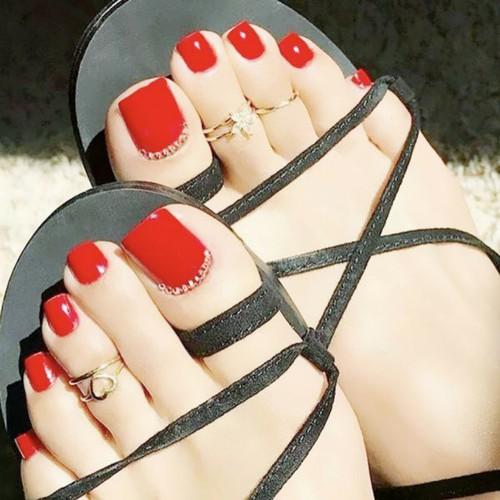 Bộ 24 móng chân giả mẫu C17 cao cấp kèm keo dán