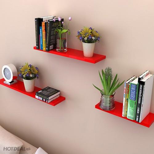kệ treo tường 3 thanh ngang đỏ dài 60x15cm