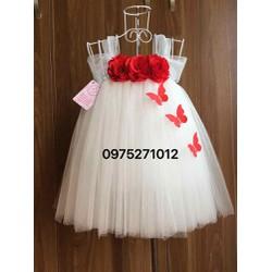 váy tutu trắng hoa hồng đỏ bướm cho bé 1 tuổi